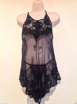 Nwt  Mesh Embroidered Babydoll/Thongs Set,Sz M,L,Black,Sexy, Gift - $11.83
