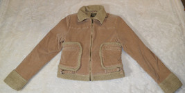 Guess Jeans Womens Jacket M Brown Corduroy Wooly Lined Stretch - $25.93