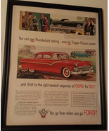 Vintage 1955 Original Color Print Ad FORD Cars: Fairlane Club Sedan-Thun... - $19.99