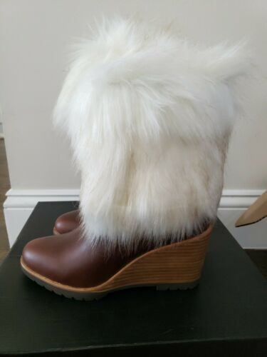 Primary image for Sorel Park City Short Wedge Waterproof Leather Boots Fur in Elk Brown $300 5.5