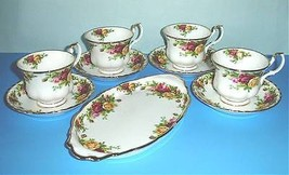 Royal Albert OLD COUNTRY ROSES 9 Piece Set Oval Tray-4 Cups-4 Saucers New - $72.90