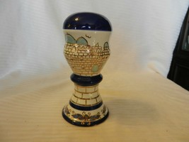 "Blue, Gold & White Ceramic Round Castle Piggy Bank from Philippines 7"" Tall - $44.55"