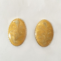 Vintage Madeline Jade White and Yellow Lucite Faux Marble Enamel Oval Go... - $20.99