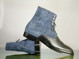 Handmade Black Leather & Blue Suede High Ankle Lace Up Wing Tip Boots For Men image 3