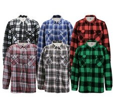 Men's Casual Flannel Button Up Plaid Fleece Warm Sherpa Lined Lightweight Jacket image 1