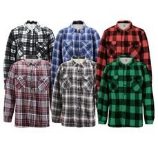 Men's Casual Flannel Button Up Plaid Fleece Warm Sherpa Lined Lightweight Jacket