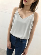 WHITE Summer Chiffon Top Sleeveless V-Neck Chiffon Tank Wedding Bridesmaid Tops  image 4