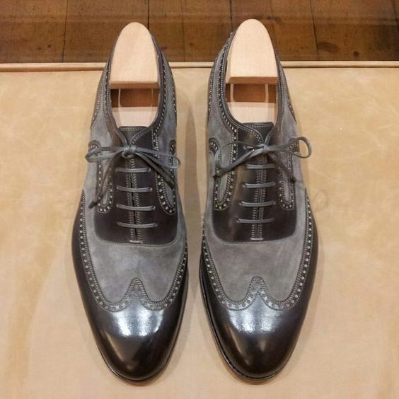 Handmade Men's Leather And Suede Wing Tip Brogue Lace Up Oxford Shoes