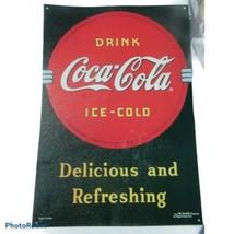 """Vintage Coca-Cola """"Delicious & Refreshing"""" Black/Red Metal Sign 1990 - $25.74"""