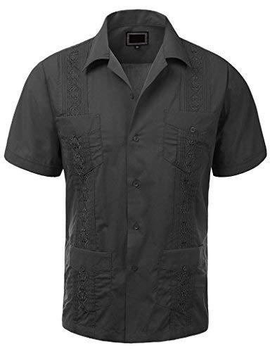 vkwear Guayabera Men's Cuban Beach Wedding Short Sleeve Button-up Casual Dress S