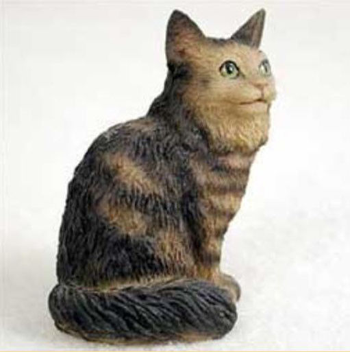 Brown Maine Coon Cat TINY ONES Figurine Statue Pet Resin