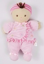 Carters Just One Year Brown Hair Baby Girl Doll Brown Eyes Pink Rattle 9... - $22.27