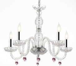 Murano Venetian Style Chandelier Lighting with Pink Crystal Hearts W/Chr... - $129.35