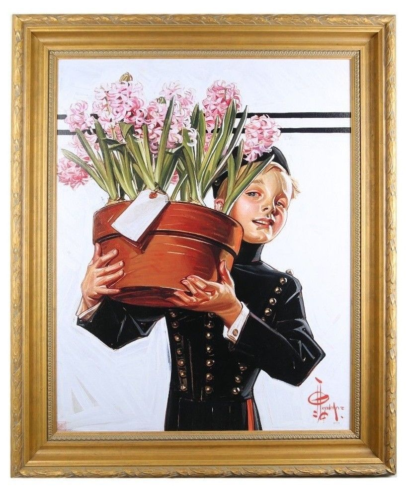 """Bellhop with Hyacinths"" by J.C. Leyendecker TruChrome LE Print Framed w/ CoA"
