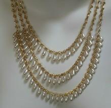 Vintage Gold-tone Triple Strand Faux Pearl & Rhinestone Necklace & Earri... - $34.65
