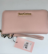 JUICY COUTURE Wallet- Wristlet Zip Around Pink Gold Brand Name Plate Lar... - $29.99