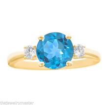 BLUE TOPAZ & DIAMOND ENGAGEMENT RING 3-STONE BRILLIANT ROUNT CUT 14K YEL... - £769.30 GBP