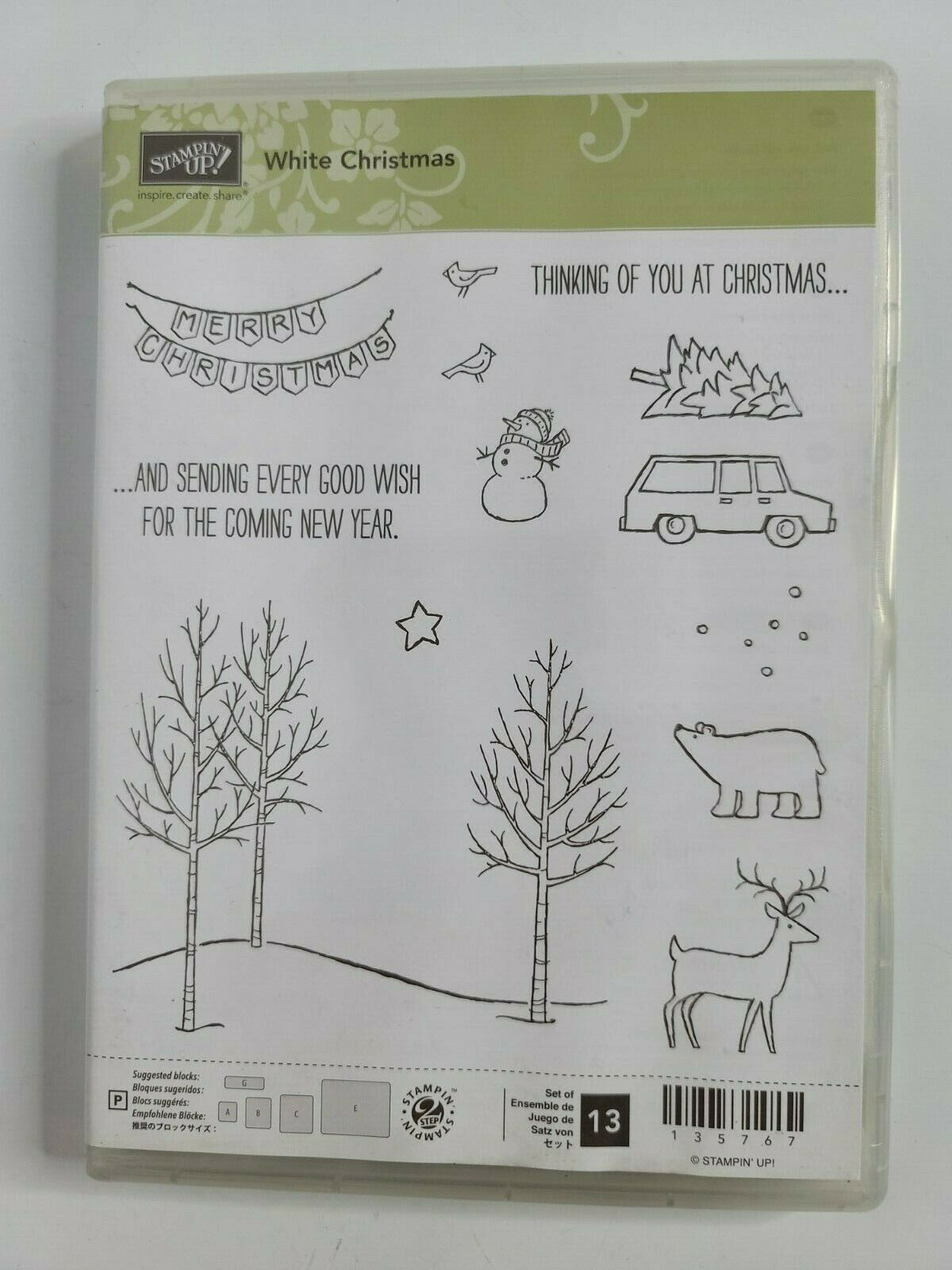 Primary image for Stampin' Up WHITE CHRISTMAS Stamp Set Tree Landscape with Deer Bear Snowman Car