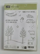 Stampin' Up WHITE CHRISTMAS Stamp Set Tree Landscape with Deer Bear Snow... - $26.99