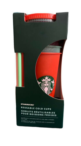 Primary image for Starbucks Holiday 2020 Reusable 5 Pack Glitter Cold Cups - NEW!