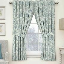 WAVERLY CHARMED LIFE Cornflower Toile Curtain Panel w Tieback Cotton Blu... - $29.99