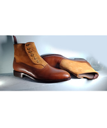 handmade tow tone ankle high Suede leather boots,Men's button Boots,Form... - $174.97+