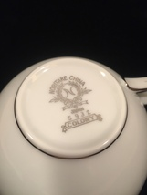 Noritake Colony pattern 5932 tea cup - Vintage 50s flat cup with platinum trim image 5