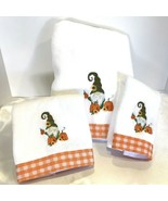 FALL AUTUMN Bath Towels Embroidered Gnome set of 3 Thanksgiving Holiday ... - $36.99