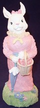 Heavy Resin Girl Female Bunny Rabbit in Pink Dress with Carrots Easter F... - $12.99