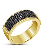 Mens Anniversary Black Diamond Band Ring 14k Gold Over 925 Sterling Soli... - $93.99