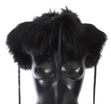 Dolce & Gabbana Black Fox Fur Shoulder Wrap Cover Collar Scarf - $2,718.98