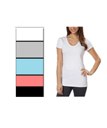 Kirkland Signature Ladies Premium Cotton V-Neck T-Shirt, Variety - $14.99