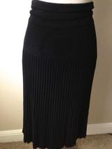 $1095 DONNA KARaN collection black label  rayon AVANT-GARDE skirt M - $190.93