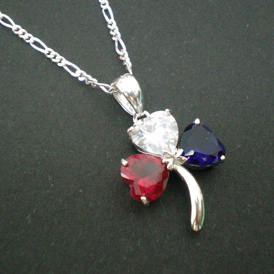 American Irish Shamrock Silver Necklace Pendant - USA Flag Color - Graduation Gi