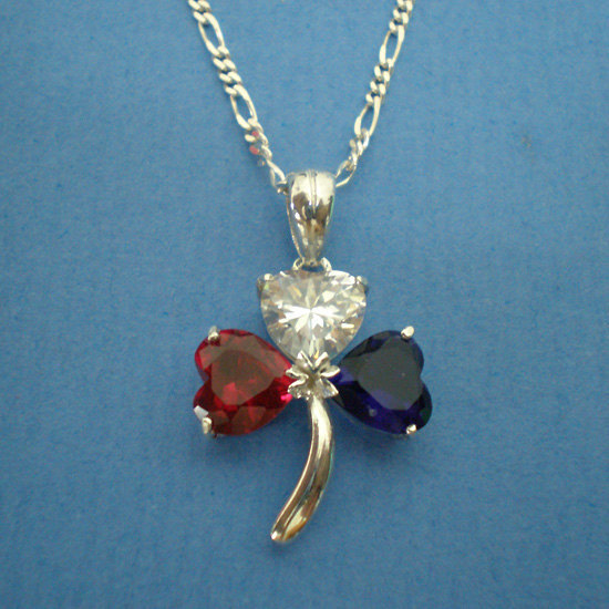 American Irish Shamrock Silver Necklace Pendant - USA Flag Color - Graduation Gi image 2