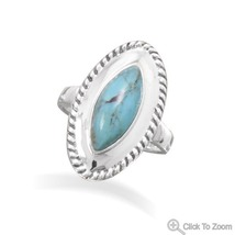 Sterling Silver Rope Edge Design Ring with Marquise Turquoise Center Stone - €60,96 EUR