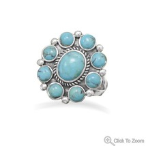 Sterling Silver Ring with Genuine Turquoise Stones - €78,83 EUR