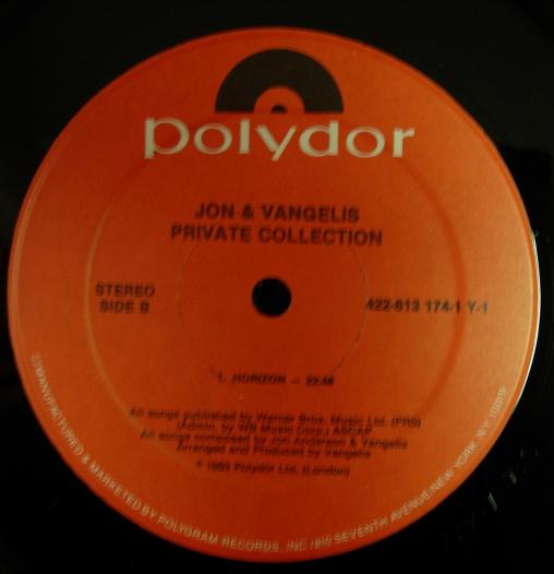 Jon & Vangelis - Private Collection - Polydor Records - 422-813 174-1 Y-1