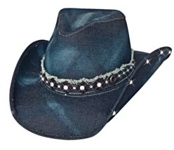 Bullhide Better Than Yesterday Denim Cowgirl Hat Rhinstones Sweatband Blue  - $74.00