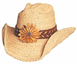 Bullhide Sunset Braided Raffia Straw Cowgirl Hat Leather Band Flower Natural - $75.00