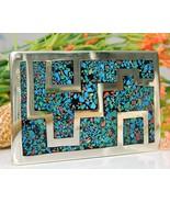 Vintage Southwestern Belt Buckle Geometric Silver Turquoise Coral - $38.95