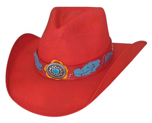 Primary image for Bullhide Wild One Bangora Straw Cowgirl Hat Shapeable Blue Center Concho Red