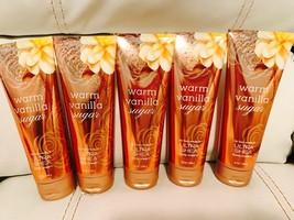 5 Bath & Body Works Warm Vanilla Sugar 24 Hour Moisture Body Cream Free ... - £43.70 GBP