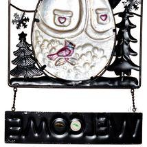 Metal & Glass Winter Holiday Snowman Seasonal Hanging Welcome Sign Decor image 7