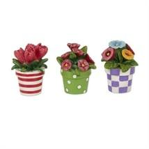 MW Spring Decor - Mini Fairy Garden Patterned Flowers in Pots 3pc Set - $13.81