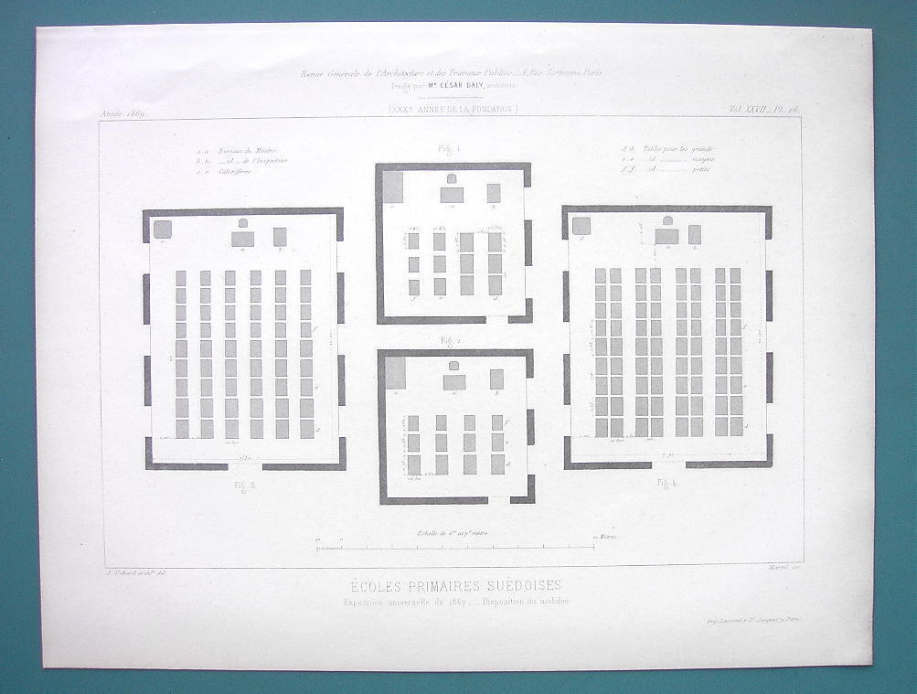 Primary image for ARCHITECTURE 2 PRINTS 1869 - SWEDEN School Classroom Design at Paris 1867 Expo