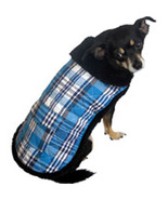"XSmall Quilted Plaid Blue Dog Coat fits 9""-11"" Dog - $9.00"