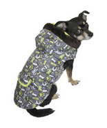 "XXSmall Fall Winter Doggie Print Green & Brown Dog Coat fits 6""-9"" Dog - $9.00"