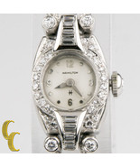 Hamilton Platinum Diamond Vintage Ladies Hand-Winding Watch Safety Chain - $2,141.16