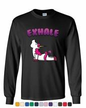 Exhale Unicorn Fart Long Sleeve T-Shirt Funny Rainbow Hilarious Pilates ... - $10.44+
